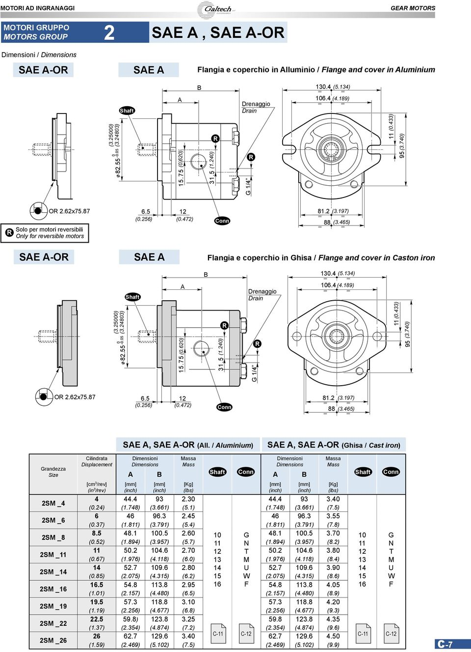 465) Solo per motori reversibili Only for reversible motors SE -O SE langia e coperchio in hisa / lange and cover in aston iron 130.4 (5.134) 106.4 (4.189) (3.25000) (3.24803) (0.433) 11 (3.