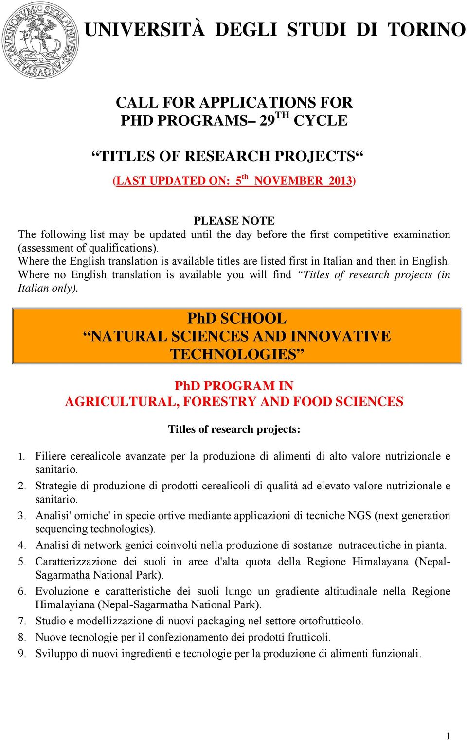 Where no English translation is available you will find Titles of research projects (in Italian only).