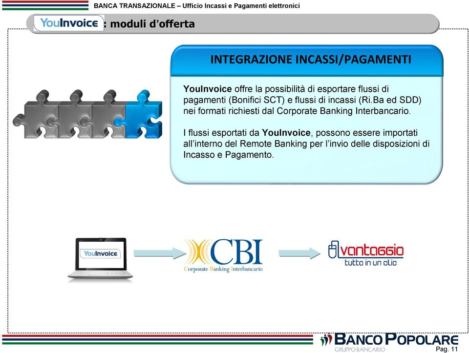 Ba ed SDD) nei formati richiesti dal Corporate Banking Interbancario.