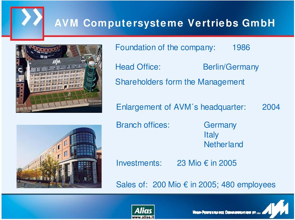 Enlargement of AVM s headquarter: 2004 Branch offices: Germany Italy