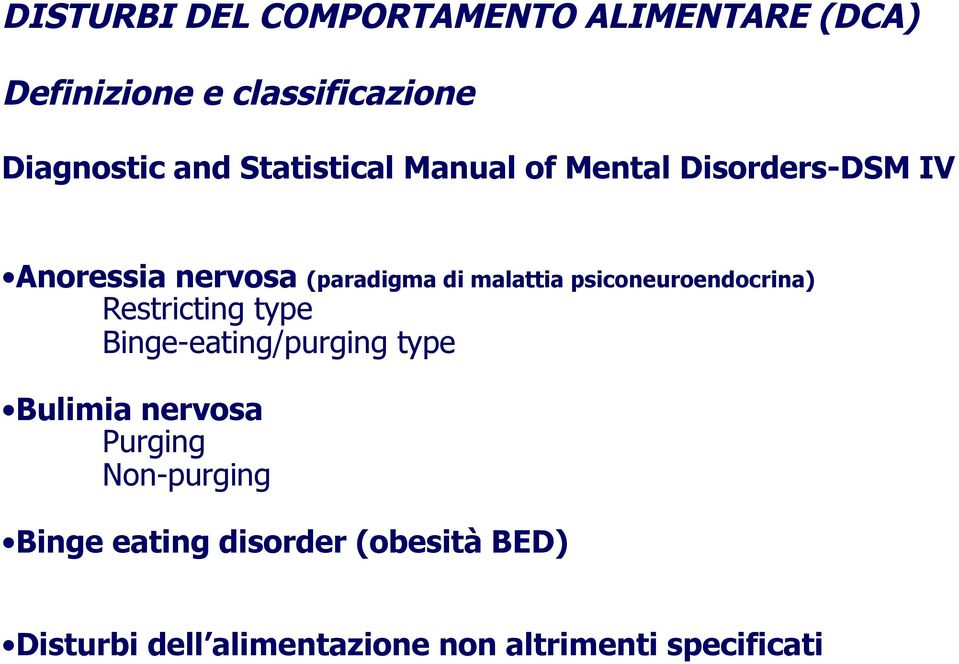 psiconeuroendocrina) Restricting type Binge-eating/purging type Bulimia nervosa Purging