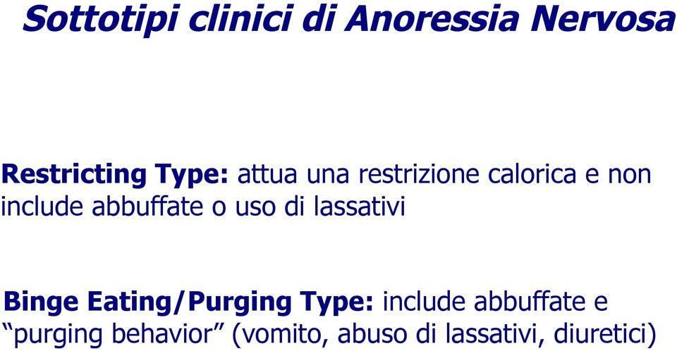 uso di lassativi Binge Eating/Purging Type: include
