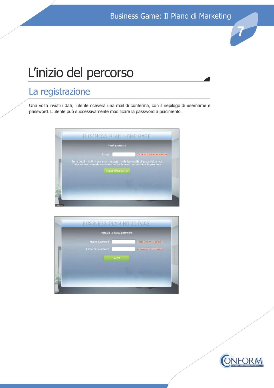 conferma, con il riepilogo di username e password.