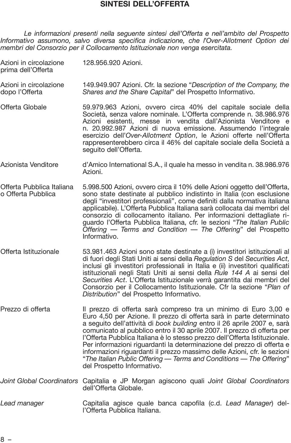 149.949.907 Azioni. Cfr. la sezione Description of the Company, the Shares and the Share Capital del Prospetto Informativo. 59.979.