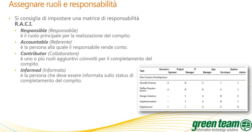 Accountable (Referente) è la persona alla quale il responsabile rende conto.