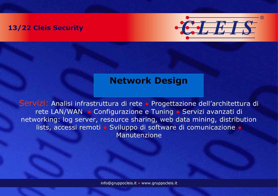 Servizi avanzati di networking: log server, resource sharing, web data