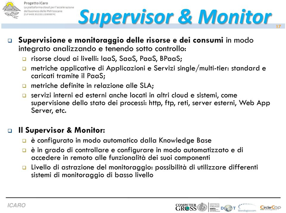 sistemi, come supervisione dello stato dei processi: http, ftp, reti, server esterni, Web App Server, etc.