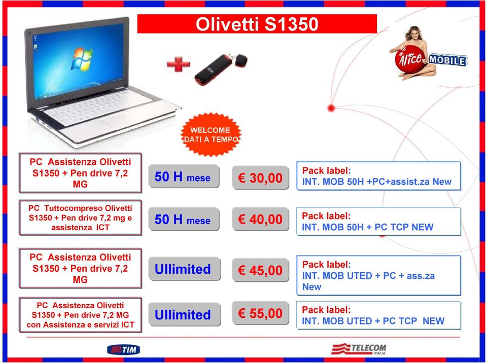MOB 50H + PC TCP NEW PC Assistenza Olivetti S1350 + Pen drive 7,2 MG Ullimited 45,00 Pack label: INT. MOB UTED + PC + ass.