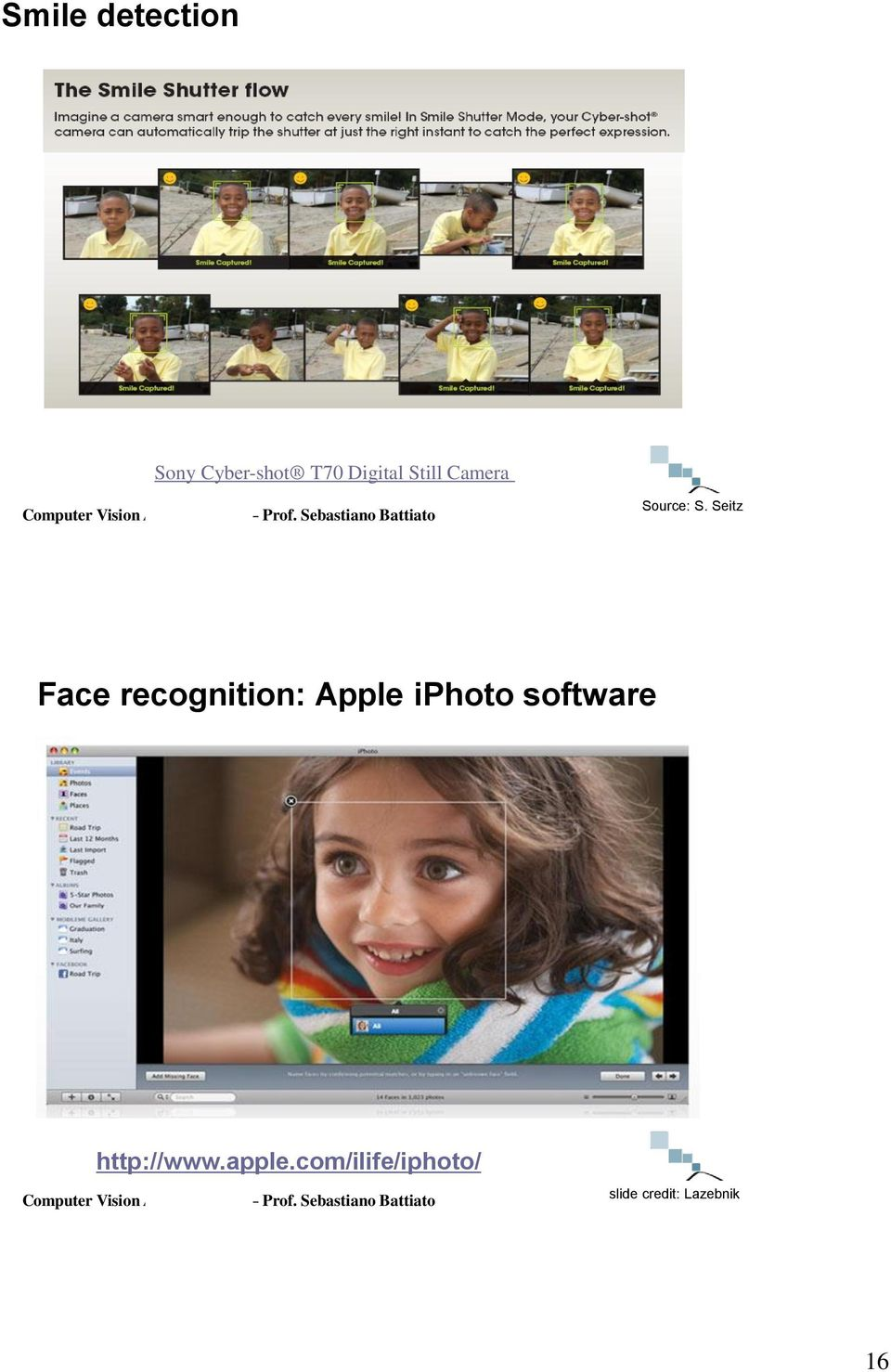 Seitz Face recognition: Apple iphoto