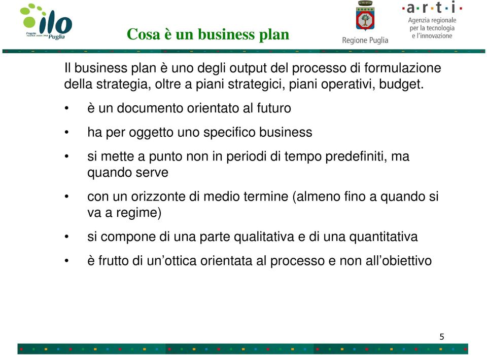 è un documento orientato al futuro ha per oggetto uno specifico business si mette a punto non in periodi di tempo