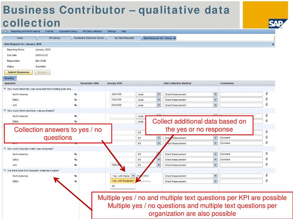 Multiple yes / no and multiple text questions per KPI are possible Multiple