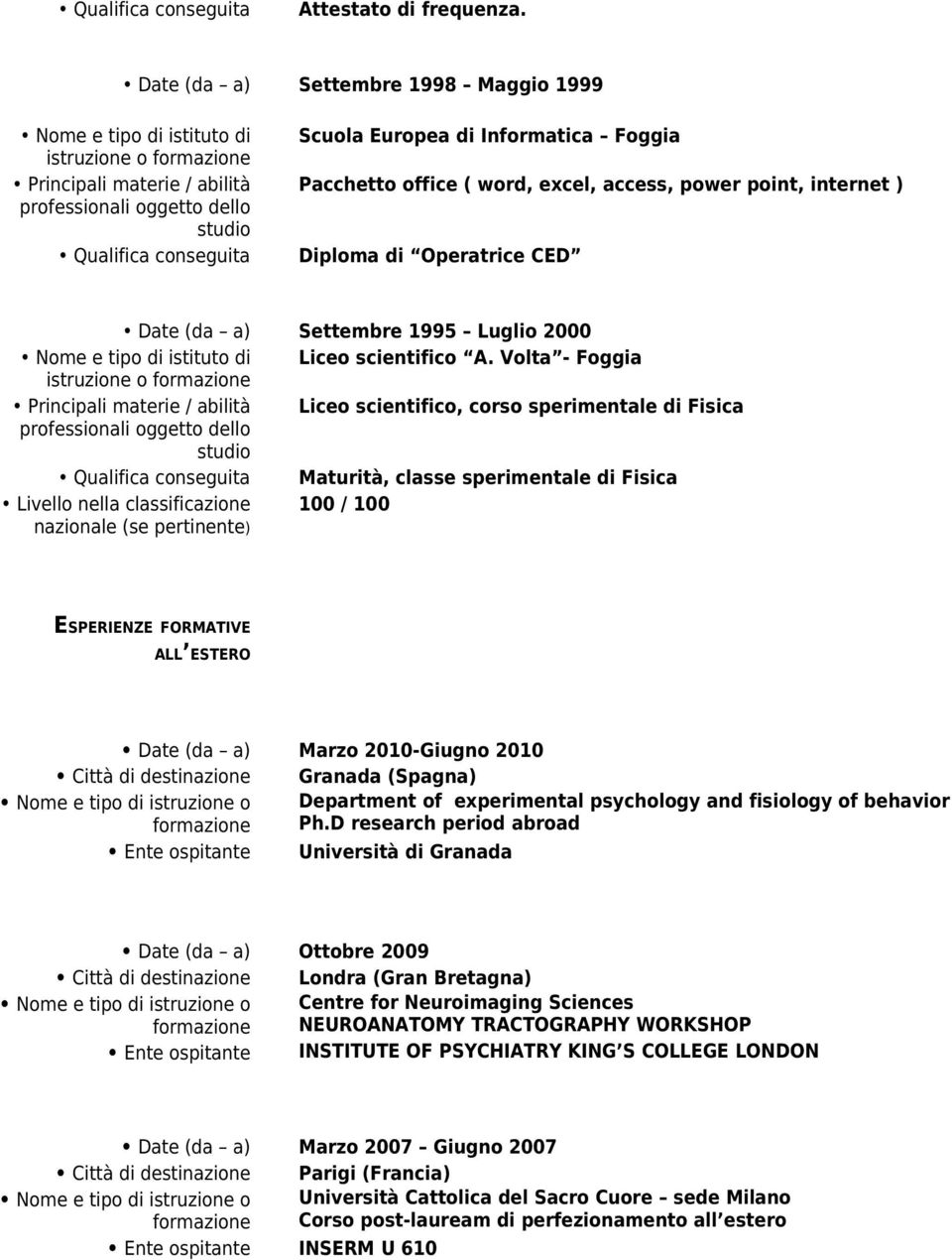 access, power point, internet ) Diploma di Operatrice CED Date (da a) Settembre 1995 Luglio 2000 Liceo scientifico A.