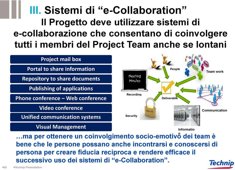 communication systems Visual Management Recording Security People Deliverable Informatio n Team work Communication ma per ottenere un coinvolgimento socio-emotivo dei