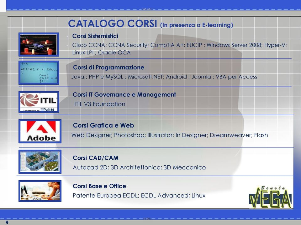 NET; Android ; Joomla ; VBA per Access Corsi IT Governance e Management ITIL V3 Foundation Corsi Grafica e Web Web Designer;