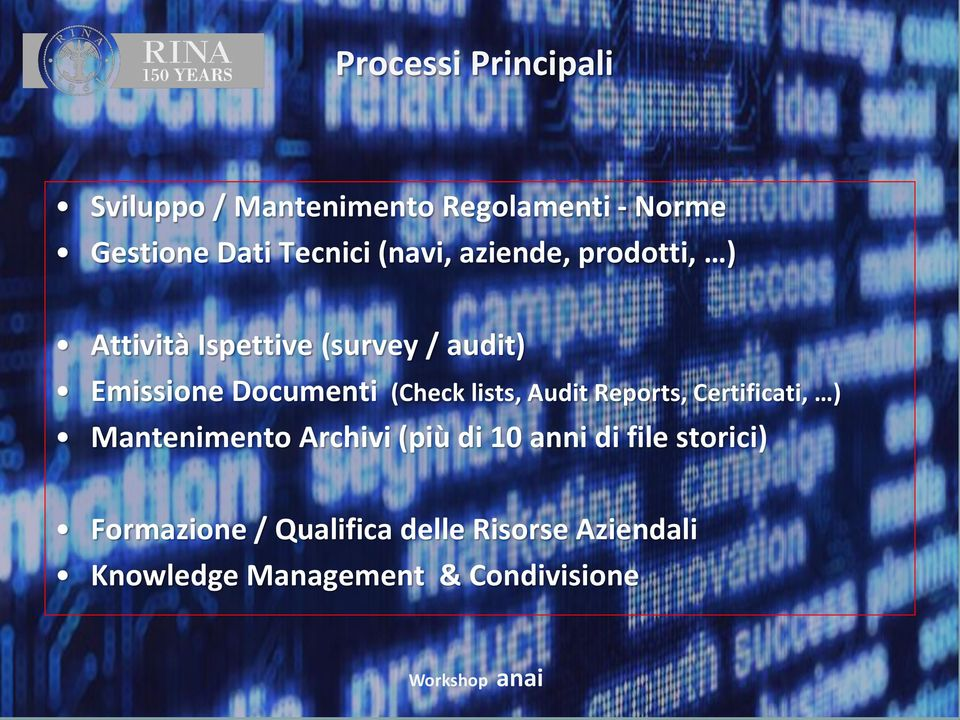 (Check lists, Audit Reports, Certificati, ) Mantenimento Archivi (più di 10 anni di