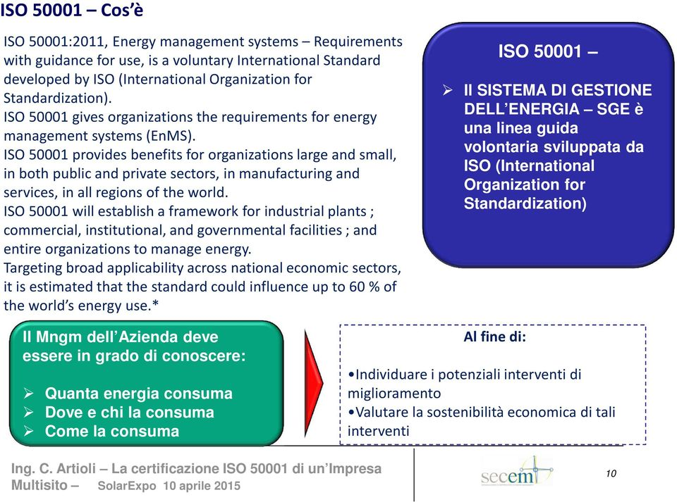 ISO 50001 provides benefits for organizations large and small, in both public and private sectors, in manufacturing and services, in all regions of the world.