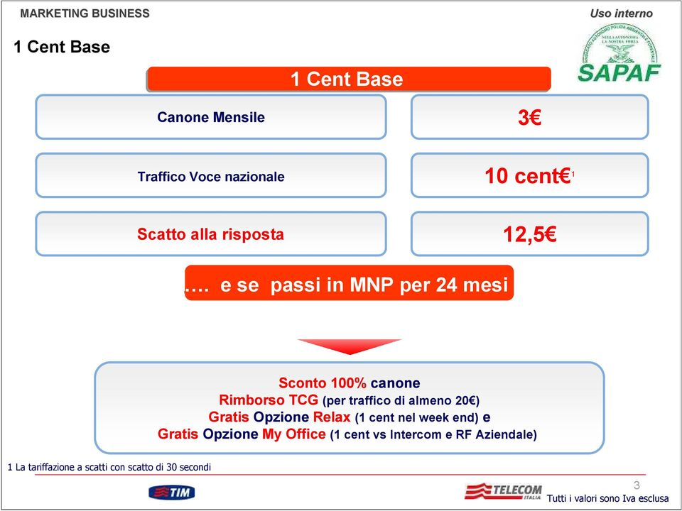 ) Gratis Opzione Relax (1 cent nel week end) e Gratis Opzione My Office (1 cent vs Intercom e