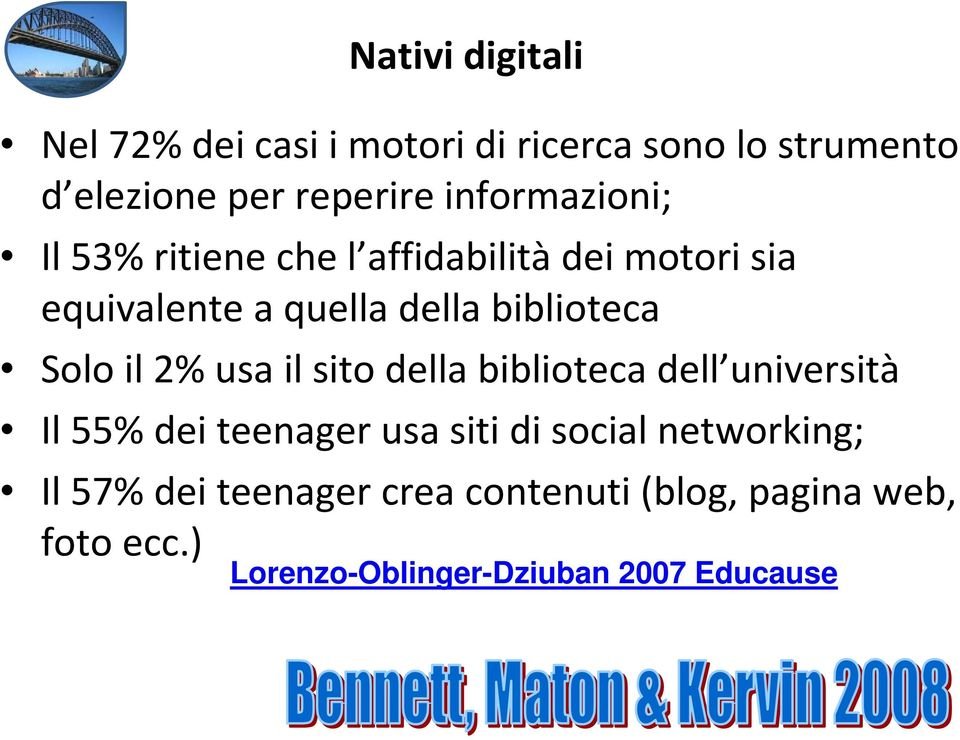 biblioteca dell università Il 55% dei teenager usa siti di social networking; Il 57% dei teenager crea