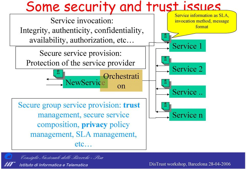 Secure group service provision: trust management, secure service composition, privacy policy management, SLA