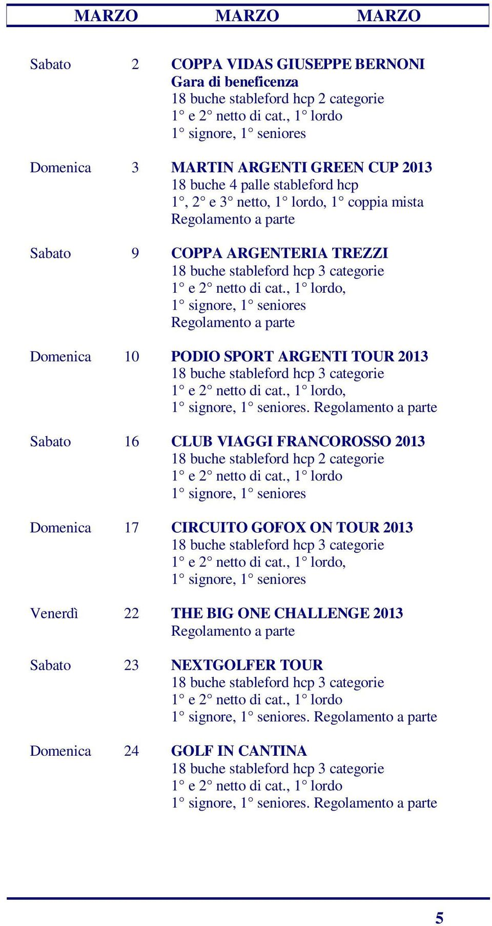 Domenica 10 PODIO SPORT ARGENTI TOUR 2013. Sabato 16 CLUB VIAGGI FRANCOROSSO 2013 18 buche stableford hcp 2 categorie 1 e 2 netto di cat.