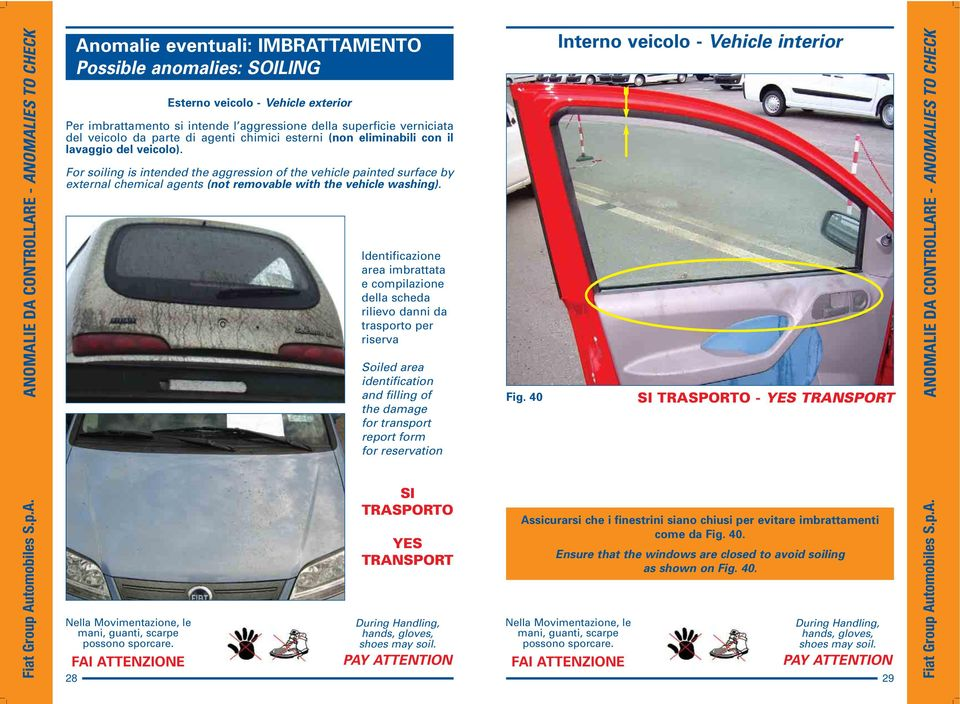 For soiling is intended the aggression of the vehicle painted surface by external chemical agents (not removable with the vehicle washing).