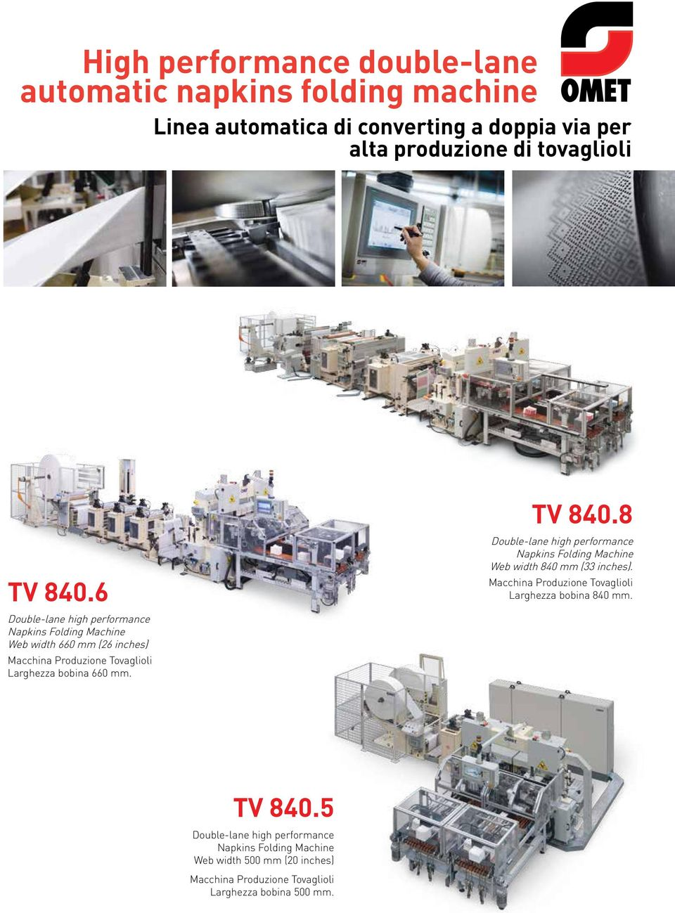 TV 840.8 Double-lane high performance Napkins Folding Machine Web width 840 mm (33 inches).