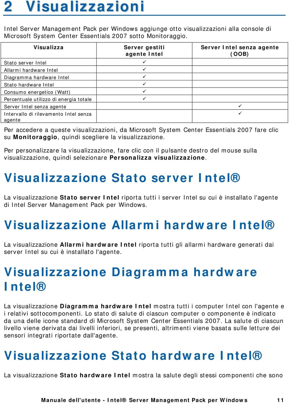 Intervallo di rilevamento Intel senza agente Server gestiti agente Intel Server Intel senza agente (OOB) Per accedere a queste visualizzazioni, da Microsoft System Center Essentials 2007 fare clic su