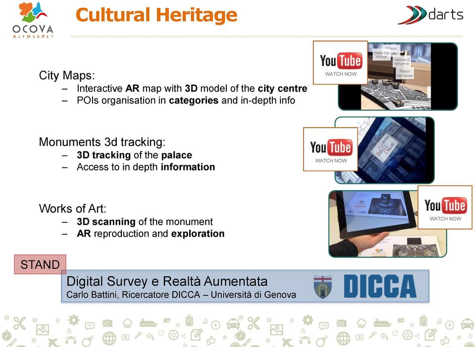 Access to in depth information Works of Art: 3D scanning of the monument AR reproduction and