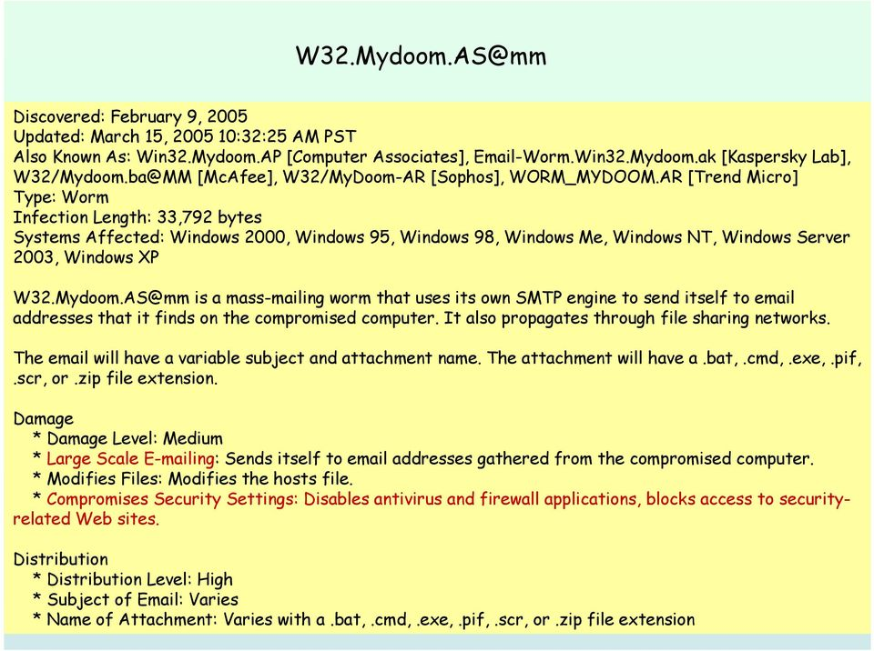 AR [Trend Micro] Type: Worm Infection Length: 33,792 bytes Systems Affected: Windows 2000, Windows 95, Windows 98, Windows Me, Windows NT, Windows Server 2003, Windows XP W32.Mydoom.
