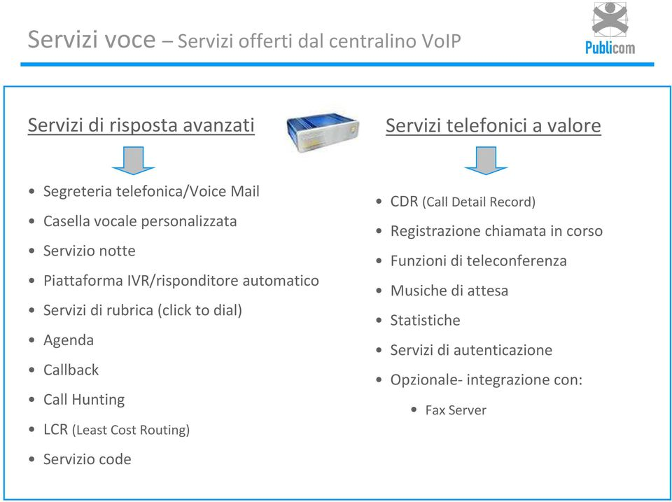(click todial) Agenda Callback Call Hunting LCR (Least Cost Routing) Servizio code CDR (Call Detail Record) Registrazione