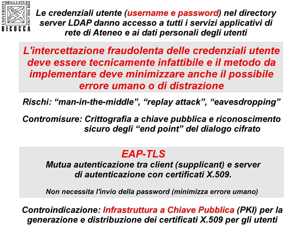 eavesdropping Contromisure: Crittografia a chiave pubblica e riconoscimento sicuro degli end point del dialogo cifrato EAP-TLS Mutua autenticazione tra client (supplicant) e server di autenticazione
