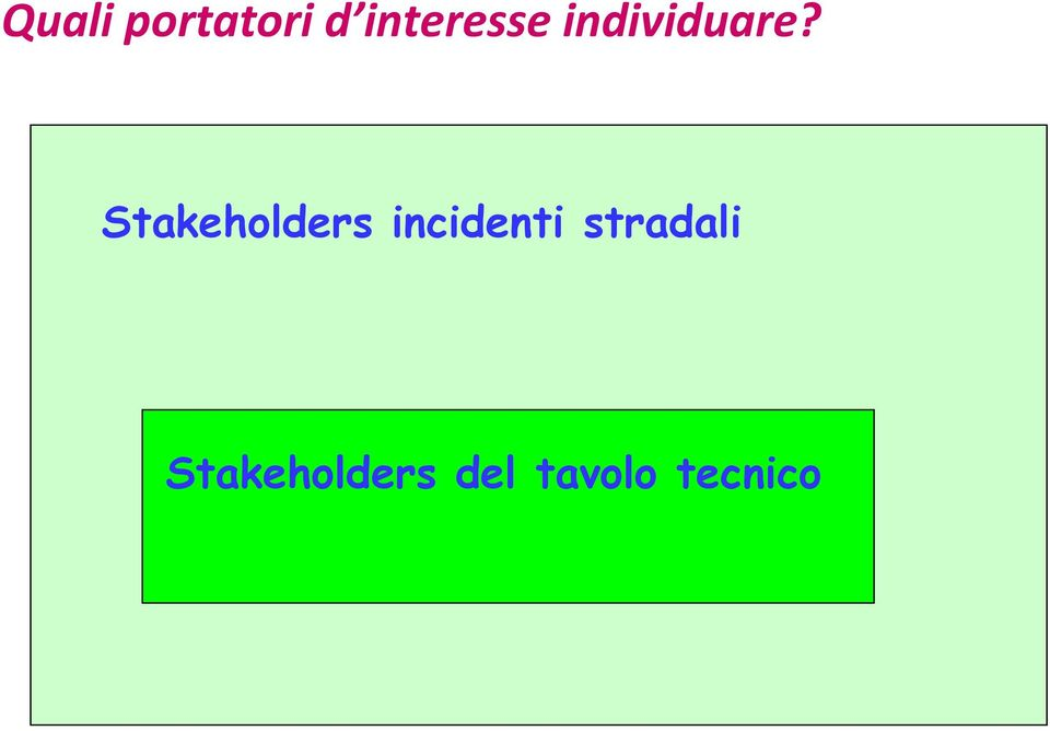 Stakeholders incidenti