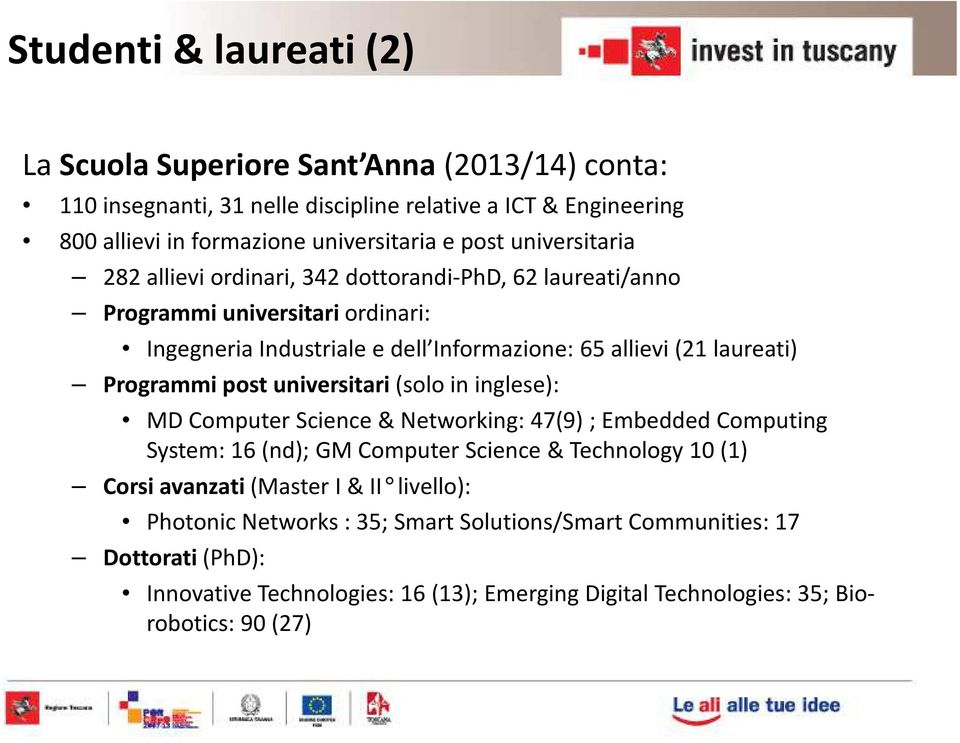 Programmi post universitari (solo in inglese): MD Computer Science & Networking: 47(9) ; Embedded Computing System: 16 (nd); GM Computer Science & Technology 10 (1) Corsi avanzati