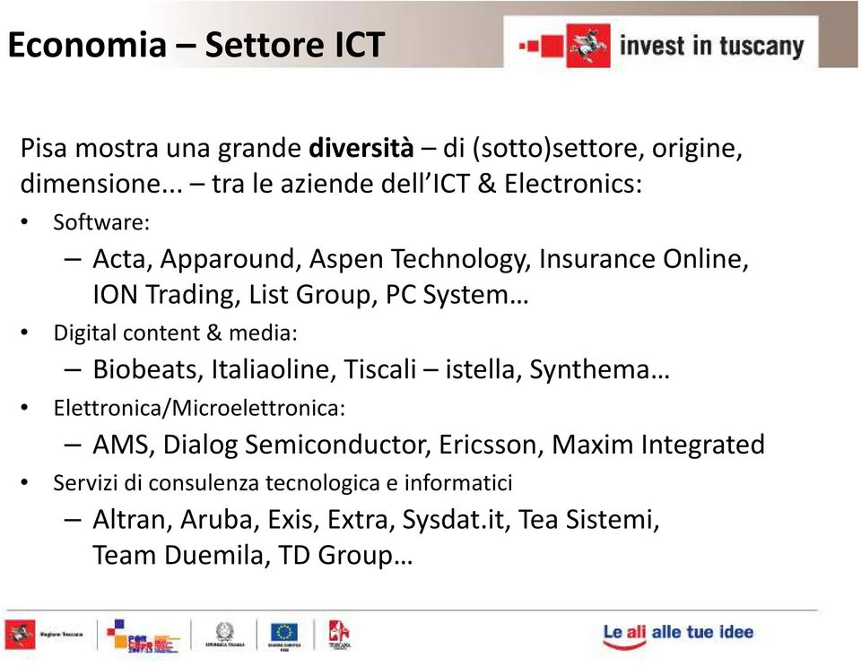 Group, PC System Digital content & media: Biobeats, Italiaoline, Tiscali istella, Synthema Elettronica/Microelettronica: AMS,