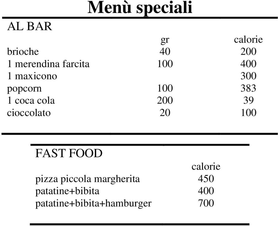calorie 0 00 00 8 9 FAST FOOD pizza piccola