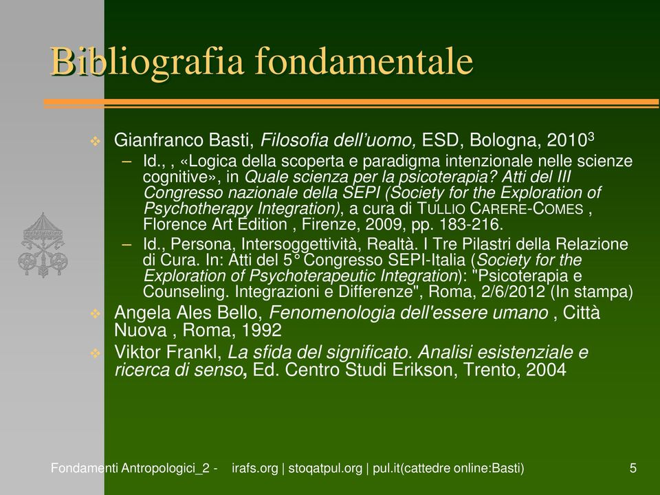 Atti del III Congresso nazionale della SEPI (Society for the Exploration of Psychotherapy Integration), a cura di TULLIO CARERE-COMES, Florence Art Edition, Firenze, 2009, pp. 183-216. Id.