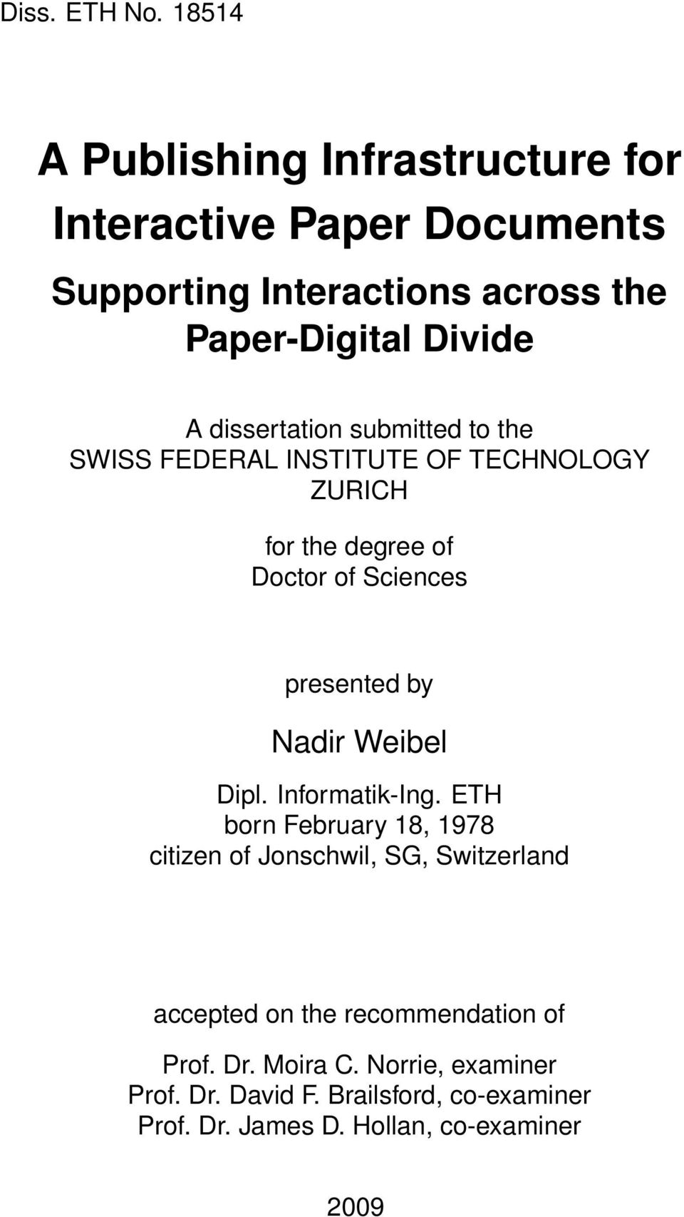 dissertation submitted to the SWISS FEDERAL INSTITUTE OF TECHNOLOGY ZURICH for the degree of Doctor of Sciences presented by