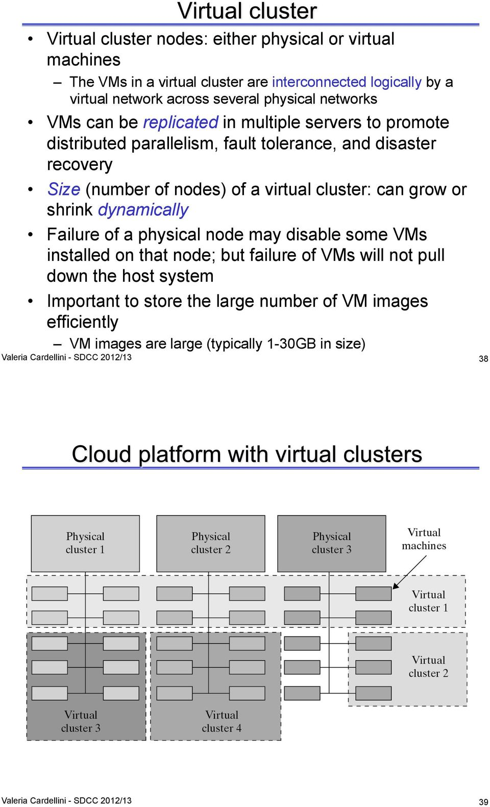 cluster: can grow or shrink dynamically Failure of a physical node may disable some VMs installed on that node; but failure of VMs will not pull down the host system
