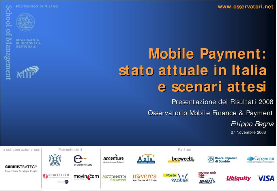 2008 Osservatorio Mobile Finance & Payment