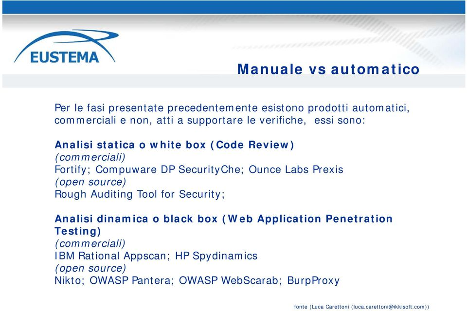 (open source) Rough Auditing Tool for Security; Analisi dinamica o black box (Web Application Penetration Testing) (commerciali) IBM