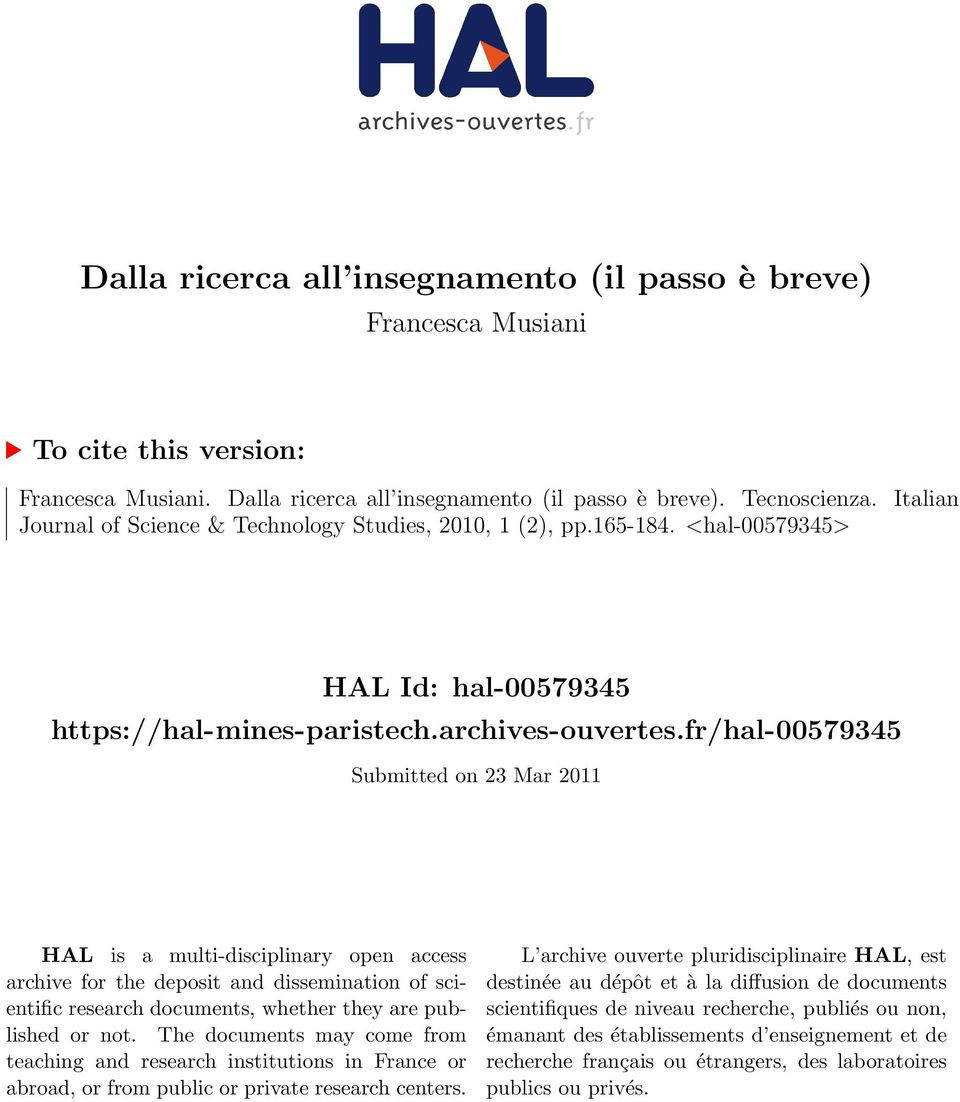 fr/hal-00579345 Submitted on 23 Mar 2011 HAL is a multi-disciplinary open access archive for the deposit and dissemination of scientific research documents, whether they are published or not.