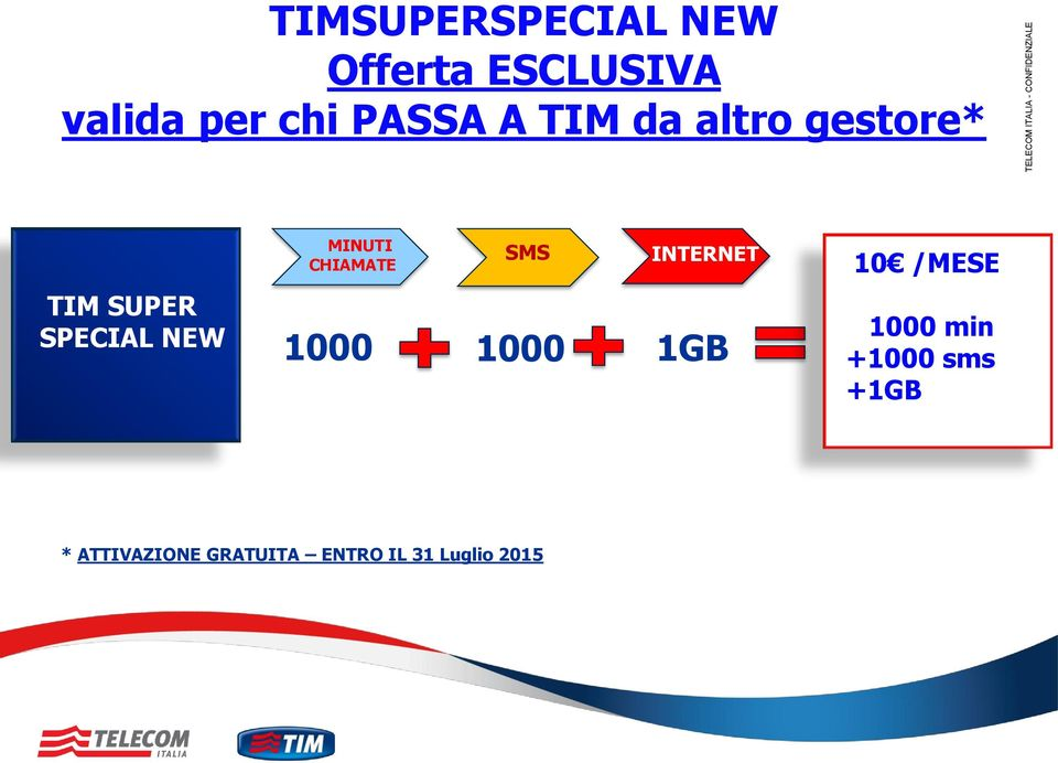 SPECIAL NEW MINUTI CHIAMATE 1000 SMS INTERNET 1000 1GB 10 /MESE