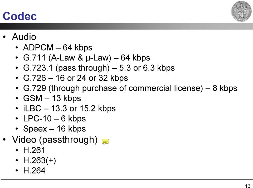 729 (through purchase of commercial license) 8 kbps GSM 13 kbps ilbc