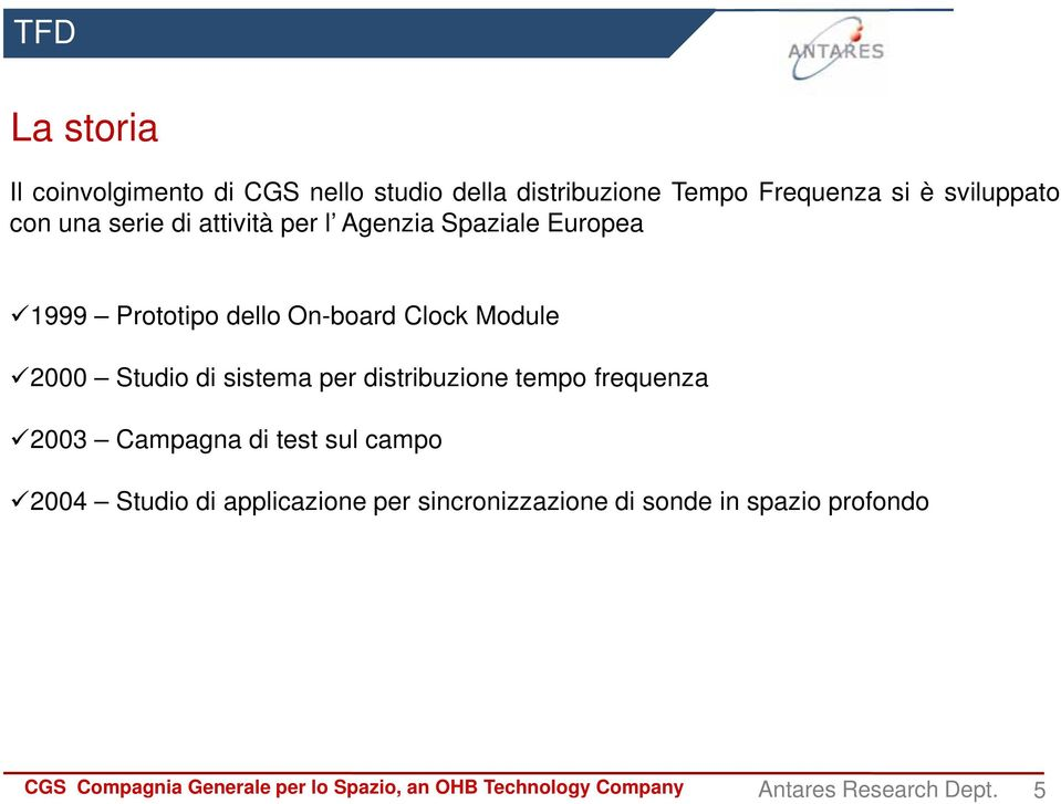 On-board Clock Module 2000 Studio di sistema per distribuzione tempo frequenza 2003