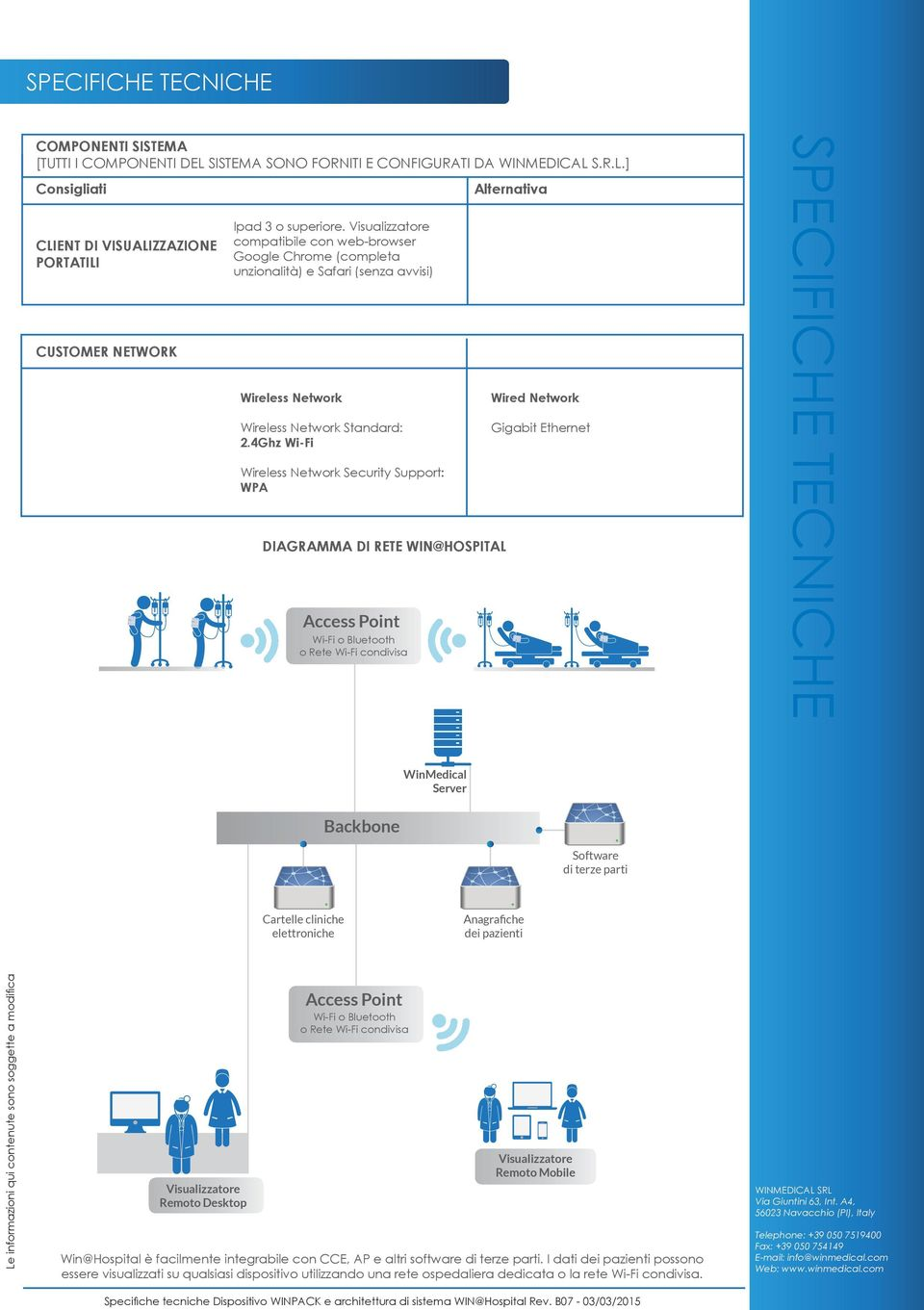 4Ghz Wi-Fi Wireless Network Security Support: WPA DIAGRAMMA DI RETE WIN@HOSPITAL Access Point Wi-Fi o Bluetooth o Rete Wi-Fi condivisa Alternativa Wired Network Gigabit Ethernet WinMedical Server
