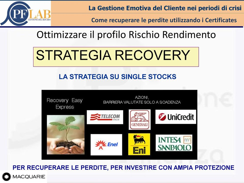 STRATEGIA RECOVERY LA STRATEGIA SU SINGLE STOCKS