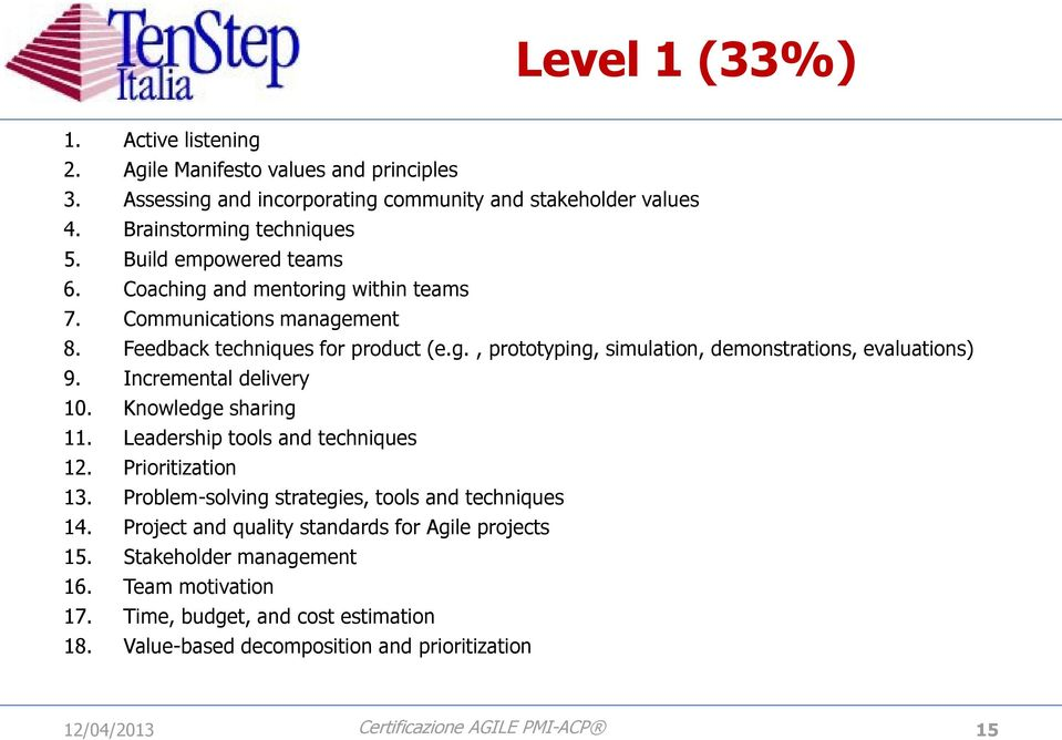 Incremental delivery 10. Knowledge sharing 11. Leadership tools and techniques 12. Prioritization 13. Problem-solving strategies, tools and techniques 14.