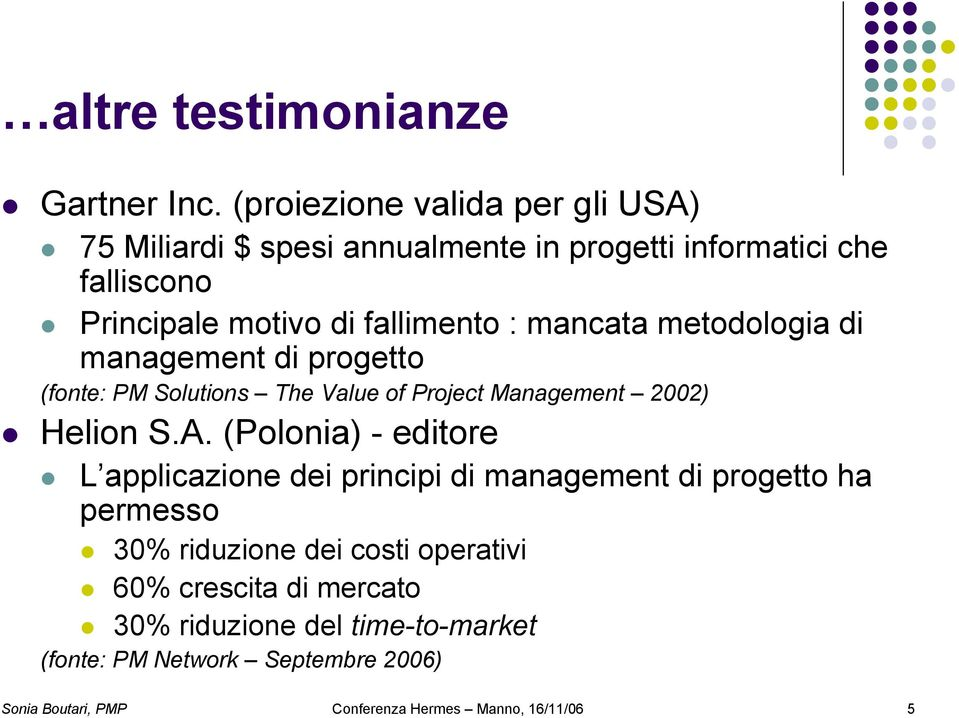 mancata metodologia di management di progetto (fonte: PM Solutions The Value of Project Management 2002) Helion S.A.