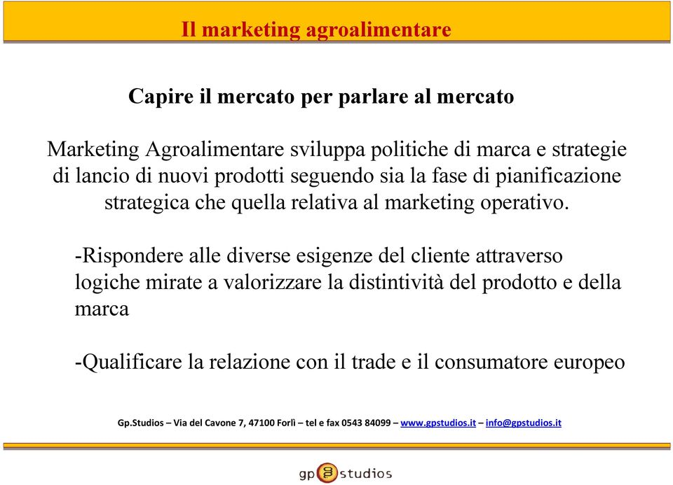 relativa al marketing operativo.