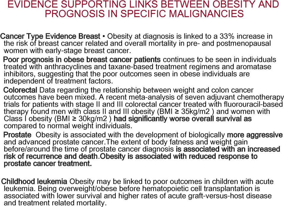 Poor prognosis in obese breast cancer patients continues to be seen in individuals treated with anthracyclines and taxane-based treatment regimens and aromatase inhibitors, suggesting that the poor